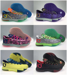 Wholesale kd shoes high cut resale online - 2020 New High Quality Athletic Mens What The KD VI Low Basketball Shoes Aunt Pink BHM MVP Blue Gold Kevin Durant KD6 sneakers