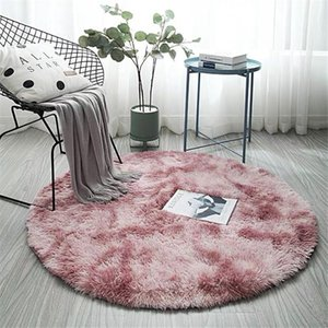 Wholesale round fur rug resale online - Pink Round Carpet Nordic Ins Style Gradient Colorful Rug For Living Room Bedroom Rugs Fur Mats Large Size Hanging Basket Mat