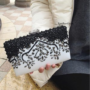 Wholesale ivory beaded clutch bag resale online - New party purse banquet handbag women pearl evening bags crystal sequin floral leaf patern clutch shoulder bags