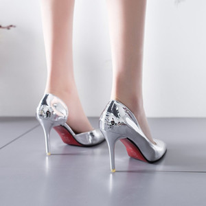 Wholesale shoes side female for sale - Group buy Spring and Summer Pointed Shoes Patent Leather Metal Shoes Ol Thin Heeled High Heels Side Cutouts Shoes Female Silver Color