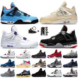 2020 Top New Jumpman 4 Mens Womens Union Travis Scott 4 4s SAIL Court Purple Bred Basketball Shoes FIBA Black Cat trainers sneakers