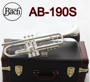 High-quality American Bach AB-190S Trumpet Silver Plated Gold Trumpete Professional Musical Instruments with Beautiful Case free shipping