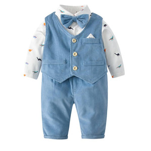 Wholesale boy vests resale online - new arrivals Spring Fall baby Boy Clothing Gentleman Vest Romper Pant cotton Design romper infant new born long sleeve rompers T