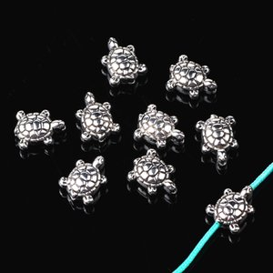 ingrosso perline di tartarughe-200pcs Mare lega placcato argento tibetano Perline per BraceletNecklace Diy Makings Gioielli d epoca animali mm Turtle Spacer