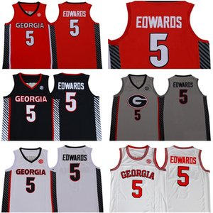NCAA Anthony Edwards Jerseys Georgia Bulldogs Basketball Jersey 5 Red College Red White Black Stitched Men Good Quality