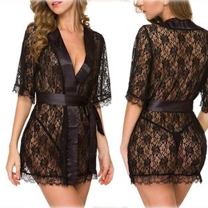 Women's Lace Hollow Out Robe Pajamas Charm Temptation Girls Nighgown See-through Women Sexy Lingeries Sets 4 Colors Optional