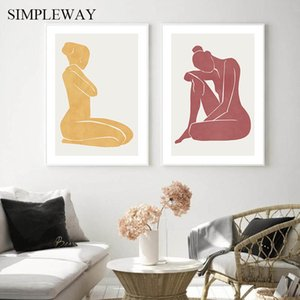 Wholesale body art abstract for sale - Group buy Scandinavian Abstract Poster Nordic Woman Body Wall Art Canvas Print Painting Minimalism Picture Modern Home Office Room Decor