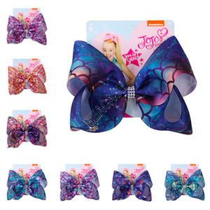 Wholesale fishing bows resale online - Newly Jojo Siwa Kids Hairpin Mermaid Fish Scale Bowknot Barrettes Dazzle Gradient Color Bow Hair Clip with Card Headdress Accessories D82708