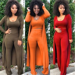 Wholesale three piece elegant pant suit for sale - Group buy 3 PIECE SET Women Tank Top X Long Sleeve Cardigan Coat Cloak Outfit Elegant Strech Three PIECE Leisure Suits Rib Knit Palazzo
