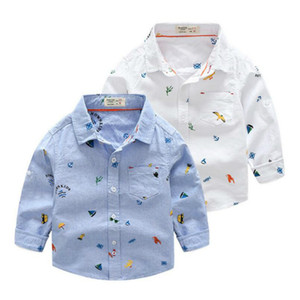 Wholesale cartoon shirts for kids resale online - Printed cartoon cotton Children Boys Shirts Cotton Solid Kids Shirts Clothing For Years Wear Baby Boy Birthday Gifts Kids Clothes