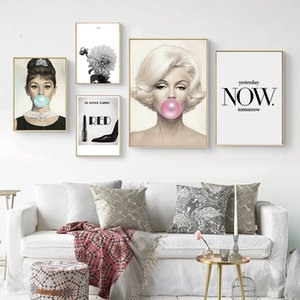 Wholesale marilyn monroe wall art canvas resale online - Hepburn Marilyn Monroe Blowing Bubblegum Quote Posters And Prints Wall Art Canvas Painting Picture Nordic Home Decoration