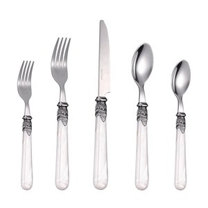 Wholesale piece flatware resale online - CATHYLIN Flatware Sets Piece Acrylic Handle Stainless Steel Dinnerware Set Restaurant Wedding Cutlery PL0015