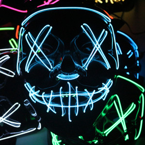 rave cosplay achat en gros de-news_sitemap_homeLED Masques Halloween Glow Effrayant Light Up Cosplay Rave Masque pour les Parties Festival Party Costume de Noël