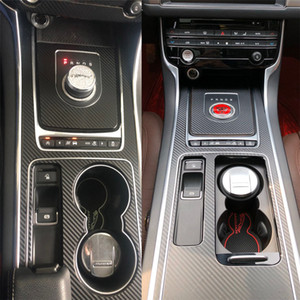 jaguar xe venda por atacado-Para Handle Jaguar XE XFL F PACE Porta Painel de Controle Central Interior Carbon Fiber decalques das etiquetas Car Styling vinil cortado