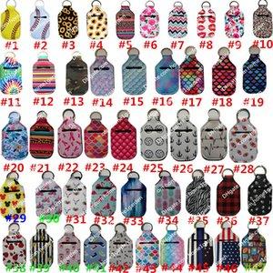 30ml Hand Sanitizer Holder Keychain Mini Bottle Cover Square 195 Colors