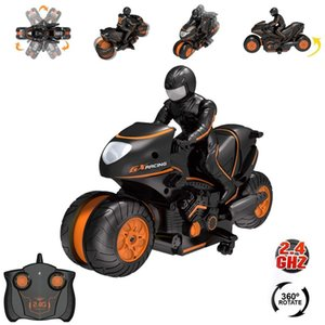 Wholesale children electric motorcycle resale online - 2 G RC Car Mini Motorcycle Remote Control Motor Electric Rotating Drift Motorbike High Speed Climbing Motor Children Kids Toys