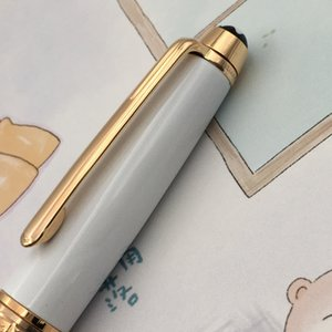 White Ceramic housing metal ballpoint gold   silver trim 163 rollerball pen writing supplies engraving with letters
