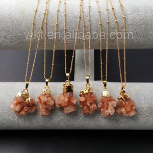 Wholesale gold nacklace for sale - Group buy WT N911 custom natural Brown Aragonite Stone With K Gold trim Necklace Lovely Natural stone pendant nacklace