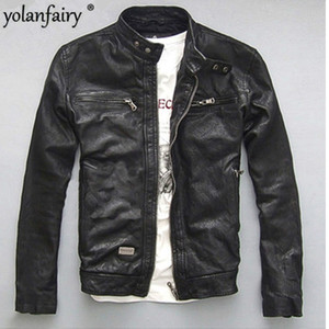 Wholesale jacket motocycle resale online - YOLANFAIRY Spring Autumn Men s Genuine Leather Jacket Short Slim Motocycle Jackets For Men Outerwear jaqueta de couro
