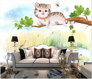 Wholesale landscaping drawing for sale - Group buy custom mural on the wall d photo wallpaper Hand drawn cartoon cat landscape children s room home decor wall papers for walls d