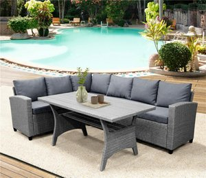 mesa de jantar venda por atacado-Jardim Outdoor Dining Table Set PE Rattan Wicker Conversação Set All Weather Sofá secional Set com mesa macia Almofadas New SH000073AAE