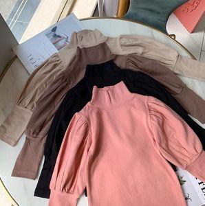 INS Little girls New Girls Puff Sleeve Blank T shirt Autumn Fashion Cotton Full sleeve Girls Top 1-6 years