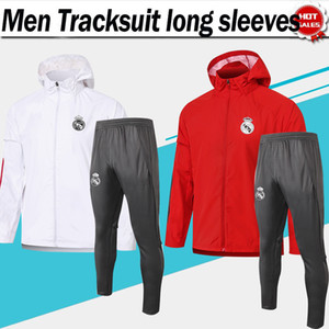 ingrosso cappelli rossi-2021 Real Madrid Coat Wind Coat Tracksuit Manica lunga Bianco Pantaloni Top Red Pants Wind Breaker con cappello Zipper Giabbia