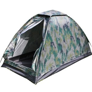 Wholesale tent camp resale online - Outdoor Camouflage Tent Beach Tent Camping for Person Single Layer Polyester Fabric Waterproof Tents Carry Bag