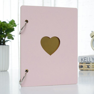 Wholesale album covers resale online - 6 Inch Photo Album Baby Growth Wooden Cover Family Memory Commemorative Craft Anniversary Record DIY Gifts Love Heart Decor C0926