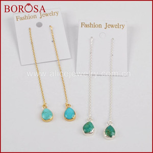 Wholesale threader earrings for sale - Group buy BOROSA New Teardrop Druzy Gold Color Natural Blue Stone Threader Earrings Drusy Stone Drop Earrings for Women G1345 S1345