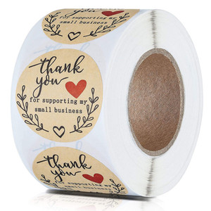 500PCS Roll 1.5inch Festive Decoration Thank You Handmade Round Adhesive Stickers Label For Holiday Presents Business