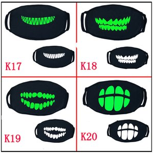 Wholesale punk face masks for sale - Group buy Black Cartoon Face Mask Funny Teeth Punk Luminous Ghost Skull Anti Dust Winter Cubre Bocas Hombre Cotton Mouth Mask EWC3052