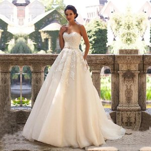 Wholesale glamorous robes resale online - New Glamorous Sweetheart Neck Wedding Dress Vestidos de Novia Lace Appliques with Belt Lace Up Wedding Gowns Robe Mariage