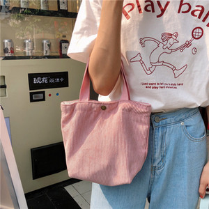 Wholesale ladies lunch bags resale online - Literary Bag Women Corduroy Casual Mini Handbag Small For All match Ladies Retro Hand Bags Cloth Lunch Suasq