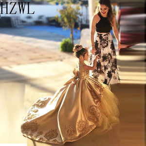 2020 Lace Applique Satin First Communion Dresses Kids Evening Ball Gown Bow Back Girls Pageant Dress Jewel Flower Girl Dresses