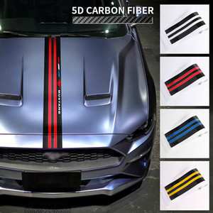 Wholesale hood carbon fiber resale online - Car Stickers Hood Styling Car Decor Sticker Ford Carbon For Accessories Mustang Decals Trim Cover Car Decals Fiber Ahsmg