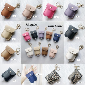 Wholesale soap hand sanitizer resale online - PU Leather Hand Sanitizer Bottle Holder Keychain Bag With ML Bottle Leopard Hand Soap Bottle Holder Pendants Cover YYA437 sea shipping
