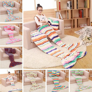 Wholesale twins beds for sale - Group buy Mermaid Blanket Coral Fleece Sleeping Bag Mermaid Tail Blanket Nap Plaid Blankets Bedding Living Room Blankets not including pillow KKA8062