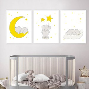 Wholesale canvas prints for kids room resale online - Yellow Baby Elephant Moon Star Cloud Wall Art Canvas Painting Nordic Posters and Prints Wall Pictures for Kids Room Decoration