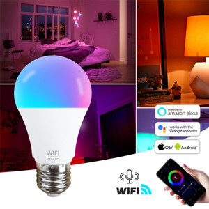 умный свет лампы  оптовых-15W Wi Fi Smart Light Light B22 E27 LED LED лампа RGB работа с Alexa Google Home V RGB White Timmable Timer Function Magic Bulb