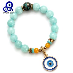 Wholesale lucky charm stone bracelets resale online - Lucky Eye Colourful Natural Stone Beads Bracelet Evil Eye Charms Bracelet For Men Women Stone Bracelets Bangles Jewelry EY4786