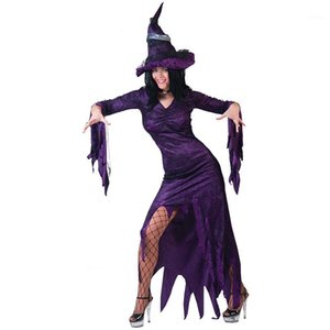 Wholesale tv magic resale online - Dresses Fashion Party Purple Halloween Stage Dresses Vneck with Hat Designer Magic Witch Cosplay Club Womens