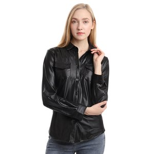Wholesale collars for shirts resale online - PU Leather Blouse For Women Autumn Clothing Long Sleeve Shirts And Blouses Turn down Collar Slim Shirt Chemise Femme