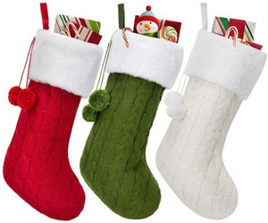 Wholesale plain red socks resale online - Stocking BWB2990 Christmas Knitting White Ornament Bags Tree Green Hanging Santa Knitted Gifts Christmas Stocking Wool Socks Red Vsxka
