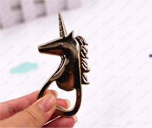 Wholesale gift giveaways resale online - Hot Gold Unicorn Bottle Opener Wedding Gifts Party Favors Birthday Event Giveaways Anniversary Supplies