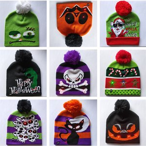 devils gap  großhandel-LED Karikatur Caps Hut Winter Partei Licht Up Beanies Nacht Flash Luminous Cap Weihnachten Halloween Kürbis Schädel Teufel Pom Pom Ball Mützen B82103