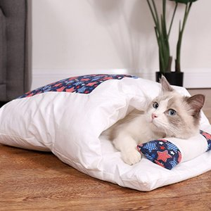 habitação japonesa venda por atacado-Japanese Cat Cat Nest Sleeping Bag Closed removível e lavável Quilt inverno quente suprimentos Pet Dog House Four Seasons Pet