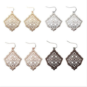 New Kendra Square Kite Filigree Cutout Morocco Dangle Drop Earrings for Women Metallic Filigree Kendra Style Drop Earrings