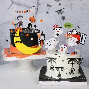 kuchendekoration liefert großhandel-Kreative Kuchen Dekoration Witch Bat Geist Brief Happy Halloween Ccake Topper für Dessert Kuchen Owen Party Decor Supplies