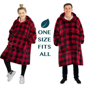 Flannel Hoodie Blanket Warm Soft Robe Sweatshirt Pullover Velvet Thick Blanket One Size Fits All Men Women Hoodies Coats